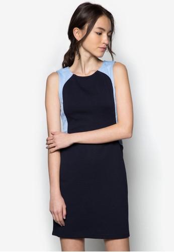 拼色無袖連身裙, 服zalora 包包 ptt飾, 正式洋裝