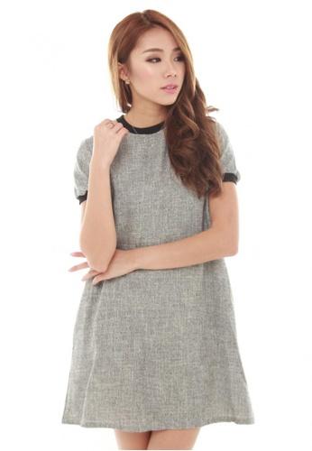 Sophialuv grey Lisea Short Sleeve Trapeze Dress in Grey 789FAAA9B40ED0GS_1