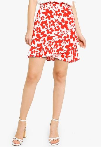 Forever New red Giselle Mini Ruffle Skirt E0D4FAAF0C635CGS_1