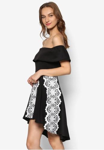 蕾絲飾荷葉露肩領連身裙, 服飾esprit台灣outlet, 洋裝
