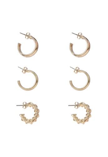 Pieces gold Fulle 3-Packs Hoop Earrings 59ED1AC10431BEGS_1