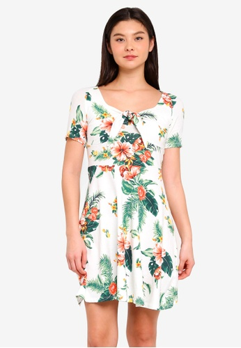 Dorothy Perkins 白色 Ivory Tropical Fit And Flare Dress CCBA5AA7CF1721GS_1