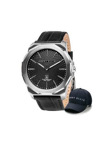 Perry Ellis silver Perry Ellis Decagon Men 46mm Quartz Watch 05002-01 with Perry Ellis Cap 4FCF2AC3FFC88FGS_1