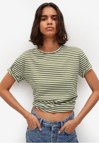 Mango beige Striped Cotton T-Shirt 1BE38AAC64D6CDGS_1