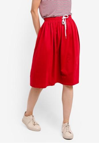 ZALORA BASICS red Basic Midi Flare Skirt BE726AA05CAB94GS_1