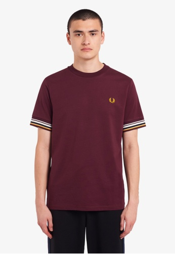 Fred Perry red M9582 - Striped Cuff T-Shirt - (Mahogany) 83F54AA6A5FD1DGS_1