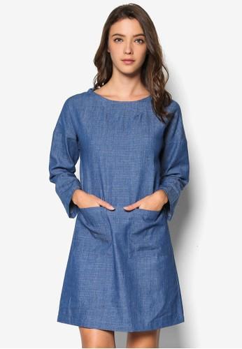素色直esprit 童裝筒長袖洋裝, 服飾, 洋裝