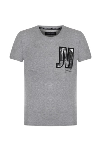 Jeremy Meeks grey Men Digital Print On The Chest With Diamond Stone Details T-Shirt Black 48FEAAA10E6363GS_1