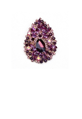 Glamorousky purple Fashion and Elegant Plated Gold Water Drop-shaped Pattern Brooch with Purple Cubic Zirconia 352C8AC8812826GS_1