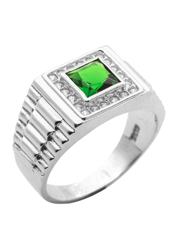 Elfi green Elfi 925 Genuine Silver Engagement Ring R43 - The Green Chariot 98B78AC55BAF1BGS_1