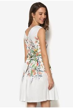 Digital Floral V Back Tie Back Dress