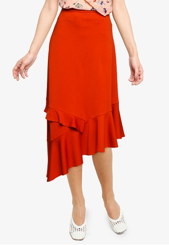 Nichii 橘色 Asymmetrical Ruffle Skirt BAF17AA70E648CGS_1