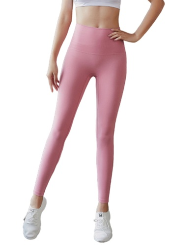 B-Code pink ZYG3034-Lady Quick Drying Running Fitness Yoga Sports Leggings -Pink 66A26AAF3F237EGS_1