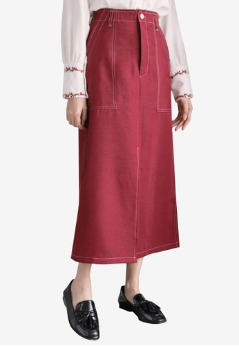 Eyescream red Side Split Maxi Skirt With Accentuated Pockets 35815AA3E5288CGS_1