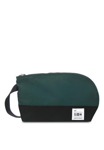 Flight 001 black and green F1 Rothko Toiletry Bag FL204AC07EAUMY_1