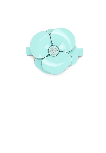 Glamorousky white Fashion and Elegant Light Blue Camellia Small Hair Slide with Cubic Zirconia CF0A5ACD24E3CAGS_1