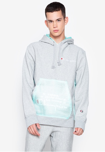 Champion grey and green Reverse Weave Shift Pullover Hoody 76038AAB27E6C3GS_1