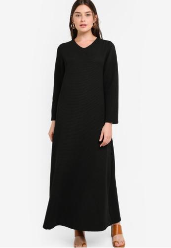 ZALIA BASICS 黑色 Basic V-Neck Dress D535AAADF2E9C9GS_1