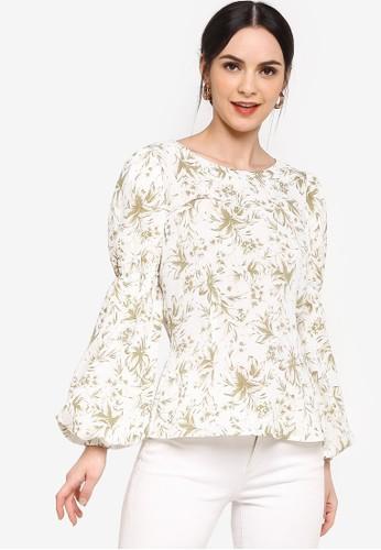 Zalia beige Gathered Puff Sleeves Blouse 603E0AA911F172GS_1
