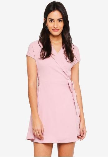 ZALORA pink Vest Wrap Dress 9459EAAD0F1B7FGS_1