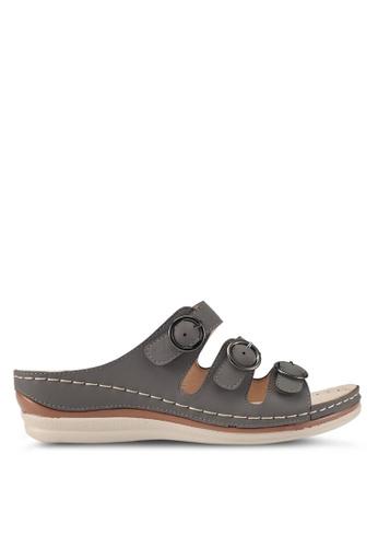 Spiffy grey Soft and Comfort Series Slip-on Wedges 97F6DSHA35B3FDGS_1