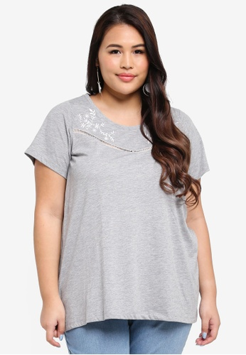 Dorothy Perkins grey Plus Size Grey Embroidered Yoke T-Shirt 27D85AAC10225DGS_1