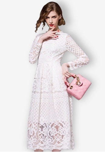 d39e64db9bcd Sunnydaysweety white Women Hollow Sexy Long Sleeve Full Lace Dresses  0151EAACFE9EF8GS 1