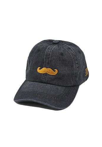 Private Stitch black Private Stitch Strapback Dad Cap With Embroidery Moustache 2FFB6AC1714963GS_1