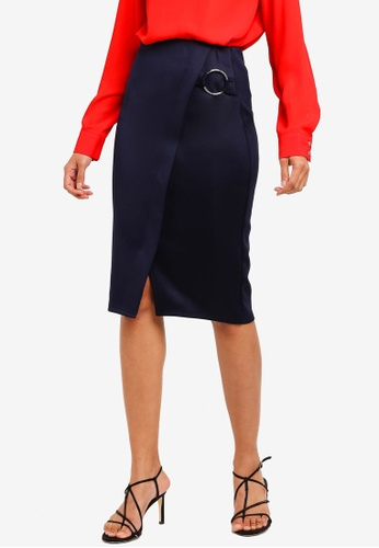 Dorothy Perkins 海軍藍色 Navy O-Ring Wrap Pencil Skirt 5C84AAA78341ECGS_1