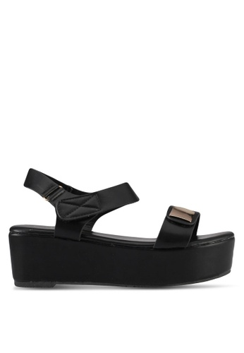 Mimosa black Faux Leather Wedges 4D960SH628A2FEGS_1