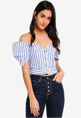 TOPSHOP blue Striped Puff Sleeve Bardot Top 8A151AA51A162AGS_1