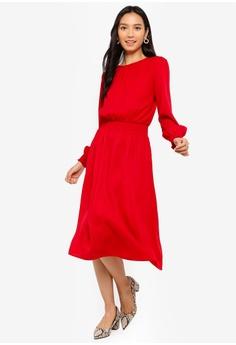 4f624d79b67 ZALORA red Midi Dress With Smocking At Waist 6ACC9AAF372730GS_1