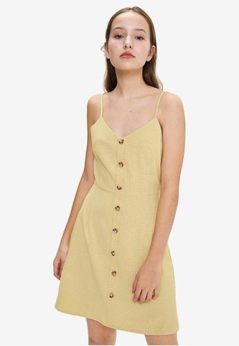 URBAN REVIVO yellow Button Down A-Line Dress D050AAACD2797CGS_1
