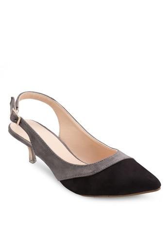 雙色繞踝低跟鞋,zalora 台灣 女鞋, 厚底高跟鞋
