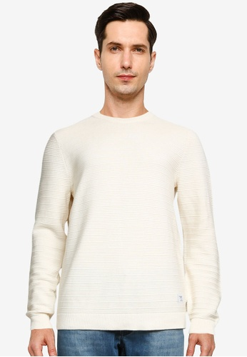 Only & Sons white Nathan Life Structure Crew Neck Pullover 434C6AAB6A12DBGS_1