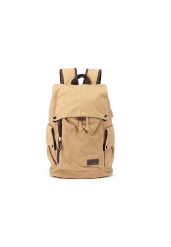 Lara beige Men's Canvas Backpack 52B69AC63124F0GS_1