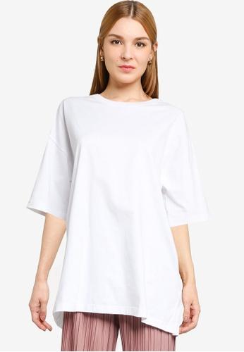 LOWRYS FARM white Oversized Slits Tee CBFE3AA204FE2BGS_1