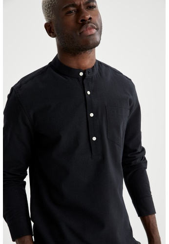 DeFacto black Man Woven Long Sleeve Shirt 0A2FBAAB661FA1GS_1