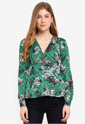 Vero Moda green Jassy Button Long Sleeve Top 7A477AA01553A5GS_1