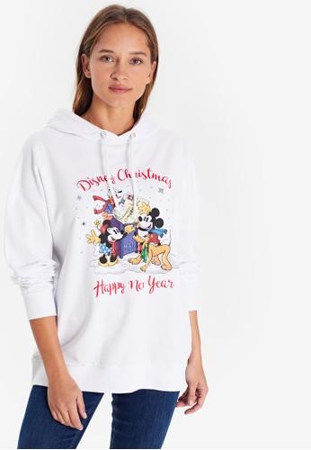 LC Waikiki white Disney Printed Hoodie Sweatshirt FB10DAAEEFEA92GS_1