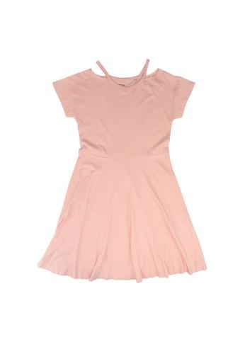 FOX Kids & Baby pink V neck Cutout Skater Dress 76B95KA04B4BDFGS_1
