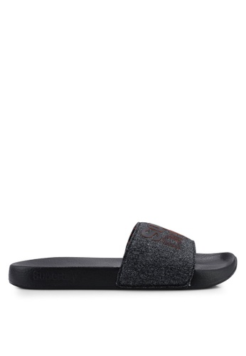 Superdry black Lineman Pool Slides 13B3FSH2BBA9B1GS_1