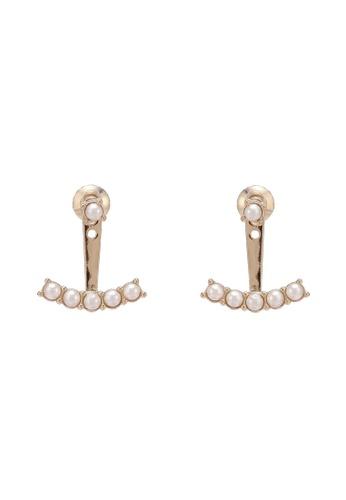 Orelia London white Golden Plate Pearl Swings Earrings OR747AC0SC31MY_1