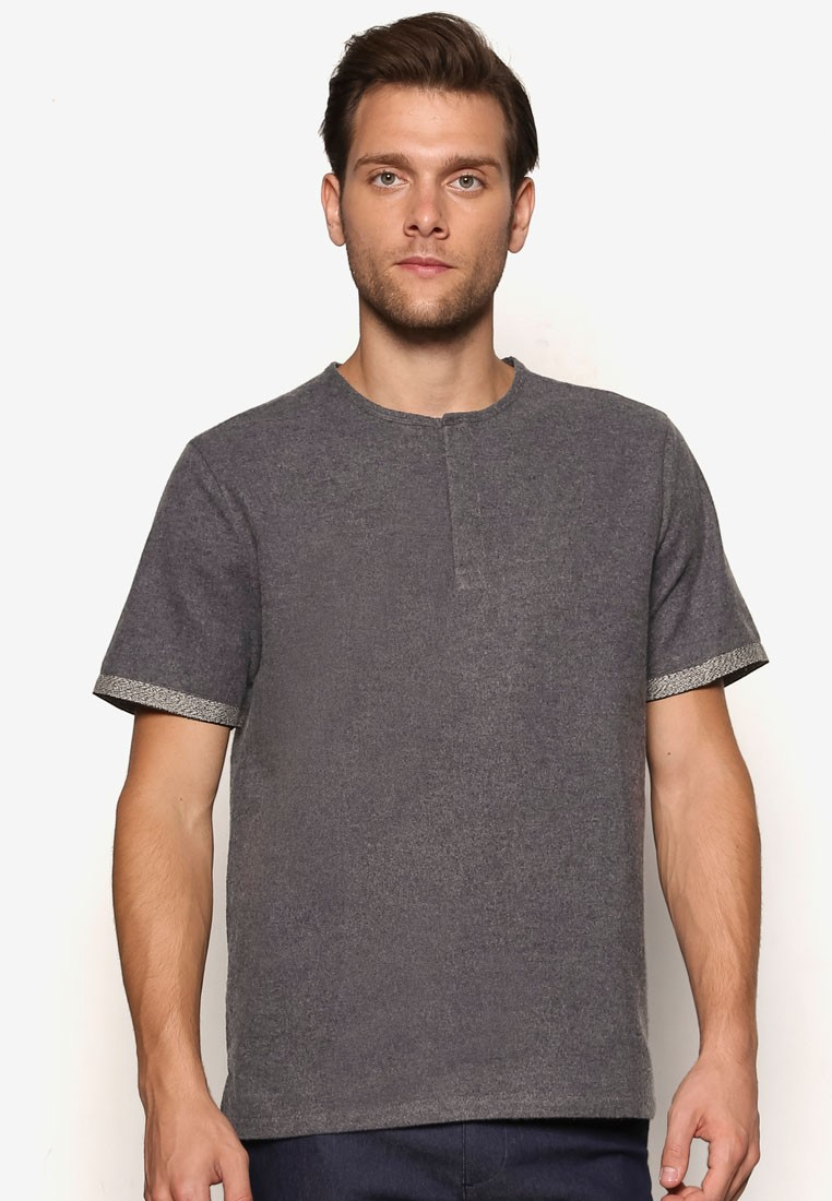 Woven Tee With Rib Detail