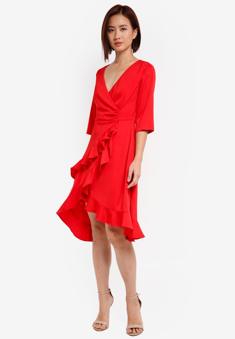 4 Asymmetrical Sleeve Red ZALORA Dress 3 Wrap A7qCRC