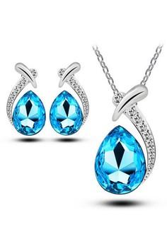 Cobalt Aquamarine Studded Crystal Water Drop Jewelry Set by Zumqa