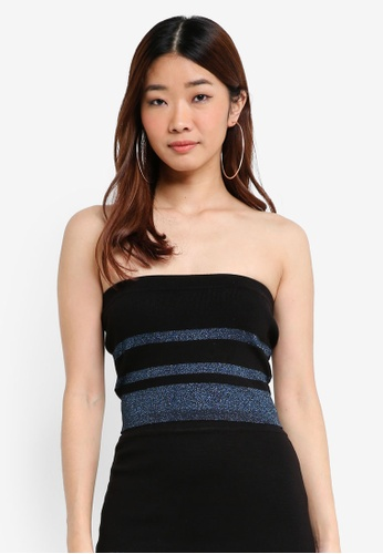Something Borrowed black Knitted Colorblock Bandeau Top 3BFB2AAE4F20A2GS_1