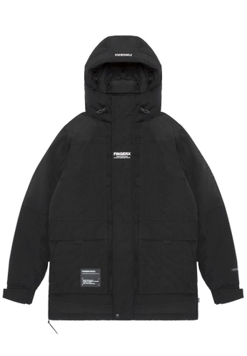 Fingercroxx black Hooded logo down jacket C7847AA2066C13GS_1