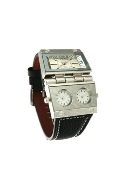 OULM Multi Dial Time Zone Luxury Leather Sport Quartz Watch