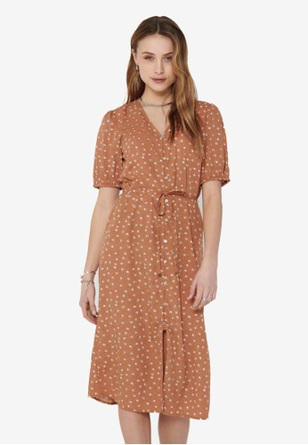 JACQUELINE DE YONG brown Ora 2/4 Button Dress CD476AA908405DGS_1